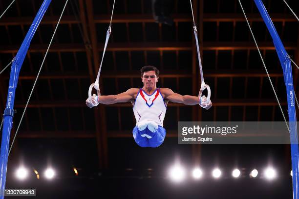 Artur Dalaloyan of Team ROC competes on rings during the Men's Team Final on day three of the Tokyo 2020 Olympic Games at Ariake Gymnastics Centre on...