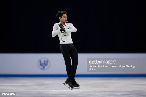 Artur Danielian of Russia competes in the Junior Men's Free Skating during the World Junior Figure Skating Championships at Arena Armeec on March 10...
