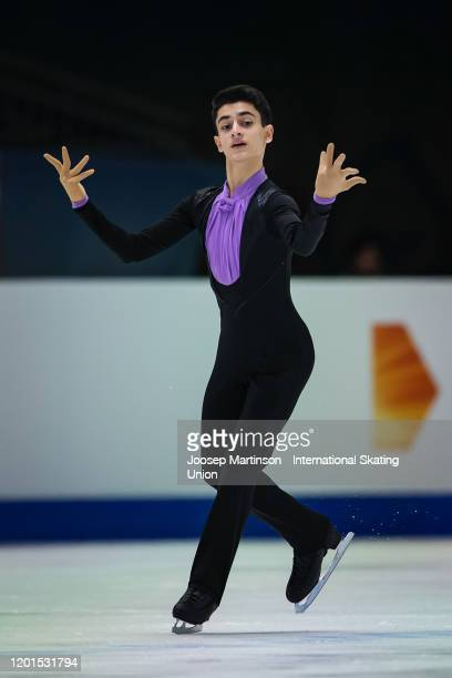 Artur Danielian of Russia competes in the Men's Free Skating during day 2 of the ISU European Figure Skating Championships at Steiermarkhalle on...