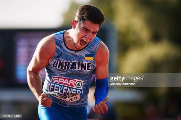 Artur Felfner of Ukraine reacts in the Men's Javelin Throw Final during European Athletics U20 Championships Day 3 at Kadriorg Stadium on July 17,...