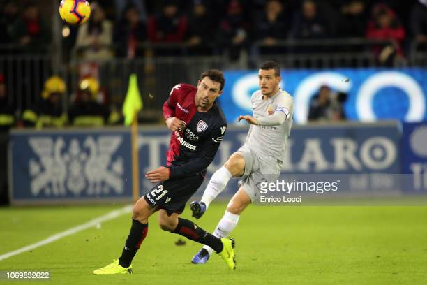 Artur Ionita of Cagliari and Alessandro Florenzi of Roma in contrast during the Serie A match between Cagliari and AS Roma at Sardegna Arena on...