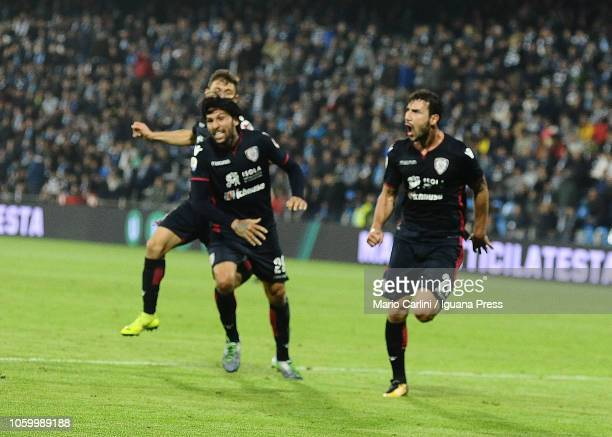 Artur Ionita of Cagliari celebrates after scoring his team's second goal during the Serie A match between SPAL and Cagliari at Stadio Paolo Mazza on...