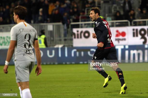 Artur Ionita of Cagliari celebrates his goal 12 during the Serie A match between Cagliari and AS Roma at Sardegna Arena on December 9 2018 in...