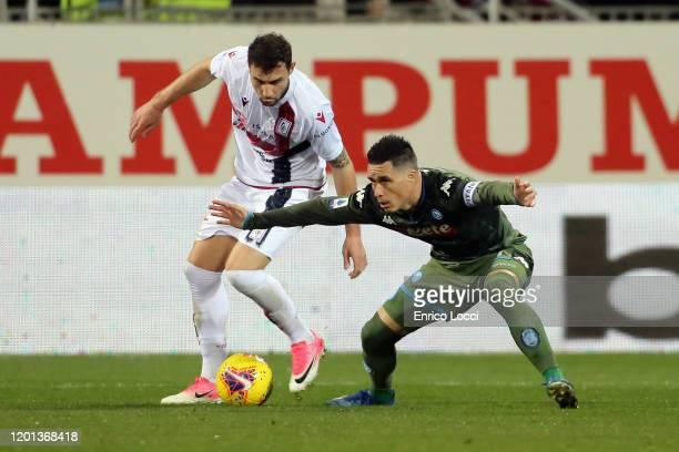 Artur Ionita of Cagliari in contrast of Josè Callejon of Napoli during the Serie A match between Cagliari Calcio and SSC Napoli at Sardegna Arena on...