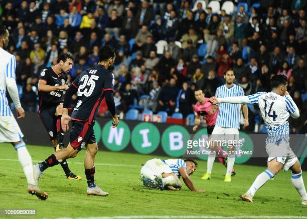 Artur Ionita of Cagliari scores his team's second goal during the Serie A match between SPAL and Cagliari at Stadio Paolo Mazza on November 10 2018...