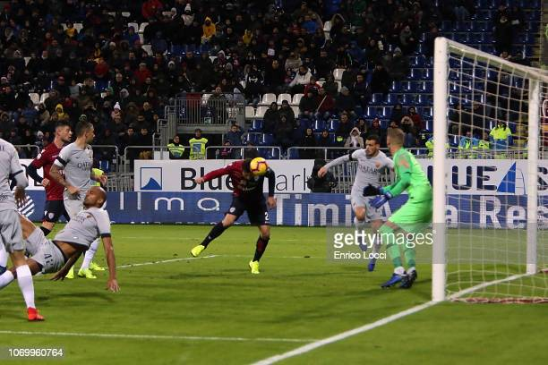 Artur Ionita of Cagliaricores his goal 12 during the Serie A match between Cagliari and AS Roma at Sardegna Arena on December 9 2018 in Cagliari Italy