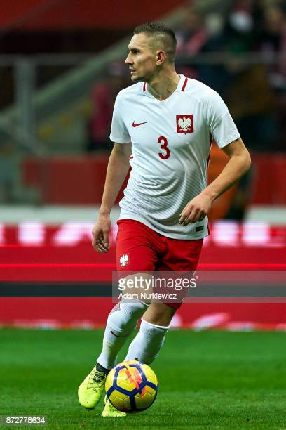 Artur Jedrzejczyk from Poland controls the ball while Poland v Uruguay International Friendly soccer match at National Stadium on November 10 2017 in...