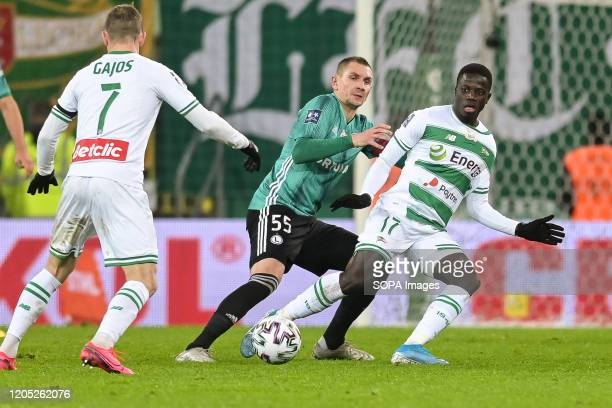 Artur Jedrzejczyk of Legia and Ze Gomes of Lechia are seen in action during the Polish Ekstraklasa match between Lechia Gdansk and Legia Warsaw