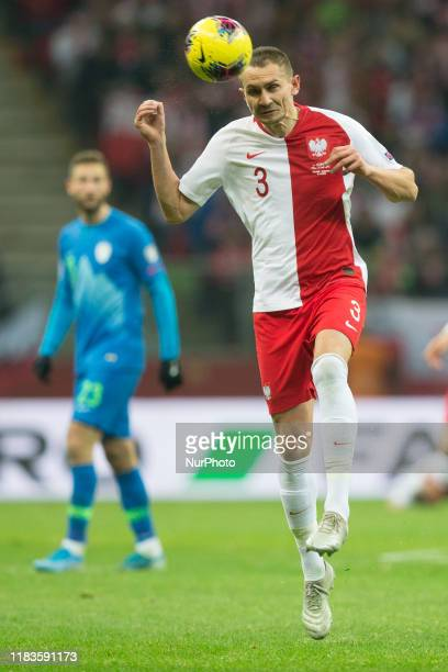 Artur Jedrzejczyk of Poland in action during the UEFA Euro 2020 Qualifier between Poland and Slovenia on November 19 2019 in Warsaw Poland