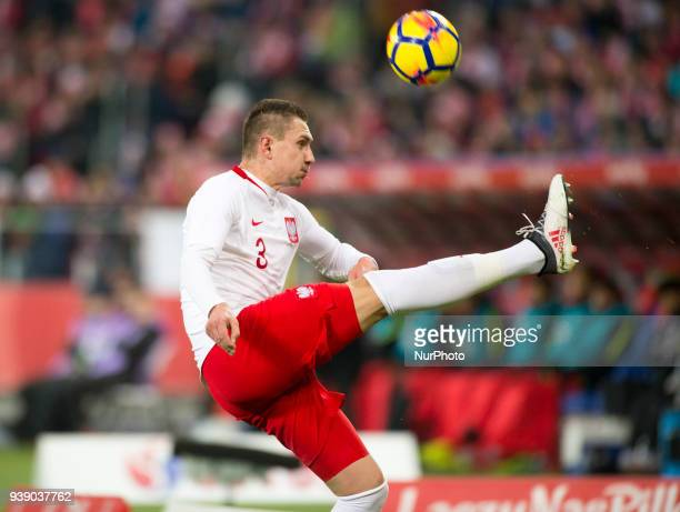 Artur Jedrzejczyk of Poland kicks the ball during the international friendly match between Poland and South Korea at Silesian Stadium in Chorzow...