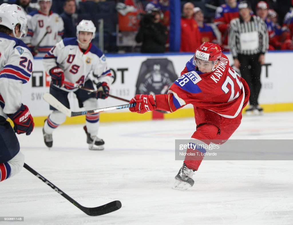 Artur Kayumov #28 of Russia shoots during the third period of play in the Quarterfinal IIHF World Junior Championship game at the KeyBank Center on January 2, 2018 in Buffalo, New York.