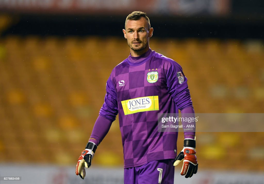 Artur Krysiak of Yeovil Town during the Carabao Cup First Round match between Wolverhampton Wanderers and Yeovil Town at Molineux on August 8, 2017 in Wolverhampton, England.