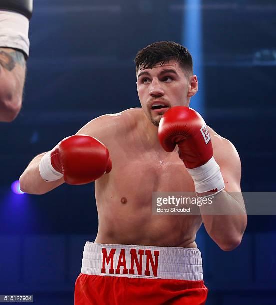 Artur Mann of Germany fights during the cruiserweight fight against Bjoern Blaschke of Germany at Jahnsportforum on March 12 2016 in Neubrandenburg...