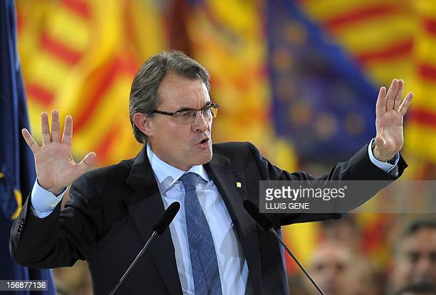 Artur Mas, current President of Catalonia and leader of the CiU , speaks during a final meeting for his re-election campaign on November 23 in...