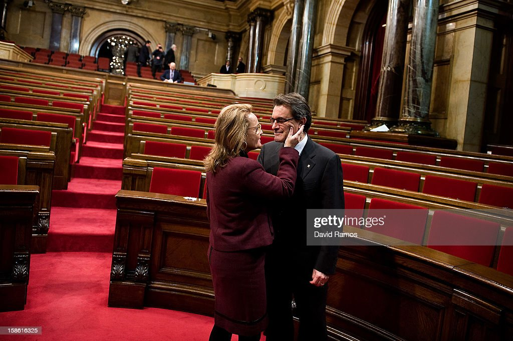 Artur Mas is congratuled by his wife, Helena Rakosnik, after being re-sworn in as President of Catalonia on December 21, 2012 in Barcelona, Spain. Mas was elected as the 129th President of Catalonia with the support of the 21 members of the Catalan Republican Left Party (ERC).