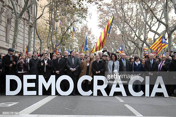 Artur Mas Oriol Junqueras and The President of the Catalan Parliament Carme Forcadell accompanied by hundreds of members of the Parliament and Mayors...