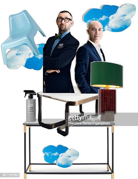 Artur Miranda and Jacques Bec are photographed for Madame Figaro on July 27, 2016 in Paris, France. Match console by Ellen Bernhardt and Paola Vella...