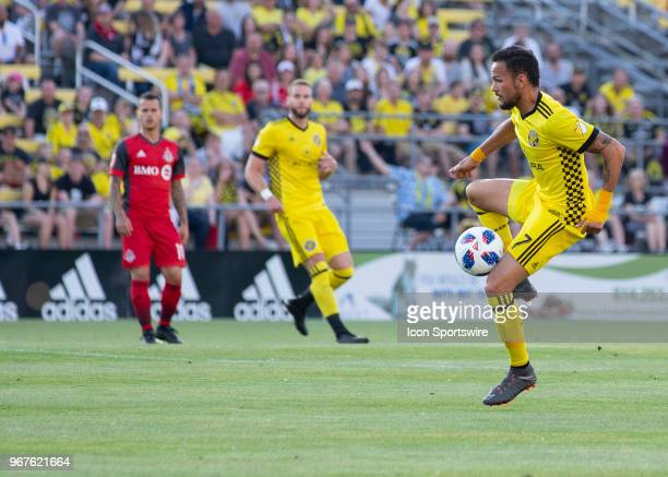 Artur of Columbus Crew SC controls the ball in the air during the game between the Columbus Crew SC and the Toronto FC at MAPFRE Stadium in Columbus...