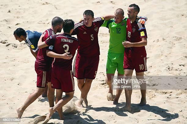 Artur Paporotnyi Ivan Ostrovskii Yury Krasheninnikov Kirill Romanov and Anton Shkarin of Russia celebrate a goal during the FIFA Beach Soccer World...