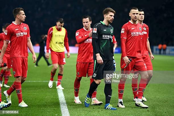 Artur Sobiech Edgar Prib RonRobert Zieler and Alexander Milosevic of Hannover 96 during the Bundesliga match between Hertha BSC and Hannover 96 at...