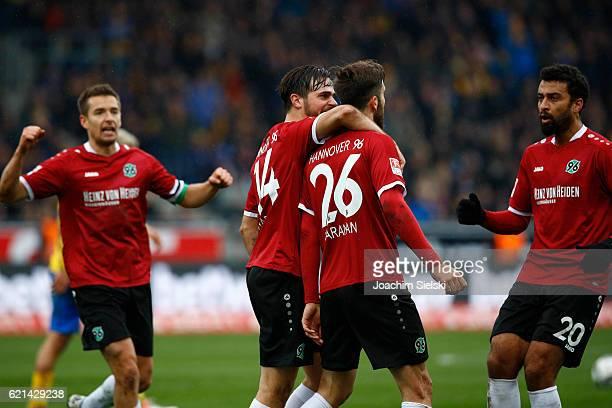 Artur Sobiech Martin Harnik Kenan Karaman and Felipe Trevizan Martins of Hannover celebration after the Goal 22 during the Second Bundesliga match...