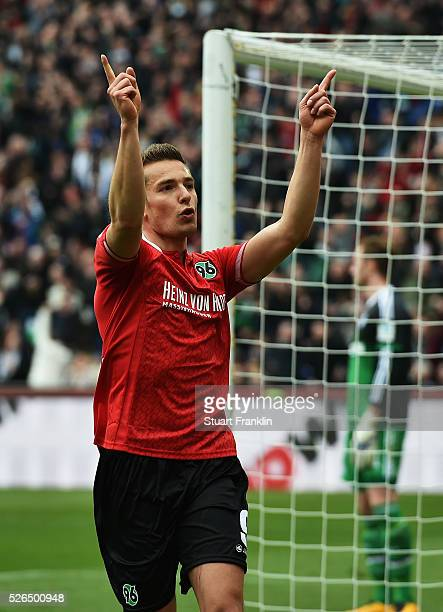 Artur Sobiech of Hannover celebrates scoring his goal during the Bundesliga match between Hannover 96 and FC Schalke 04 at the HDI Arena on April 30,...