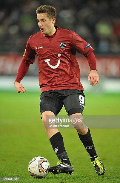 Artur Sobiech of Hannover in action during the UEFA Europa League match between Hannover 96 and FC Vorskla Poltava at AWD Arena on December 15, 2011...