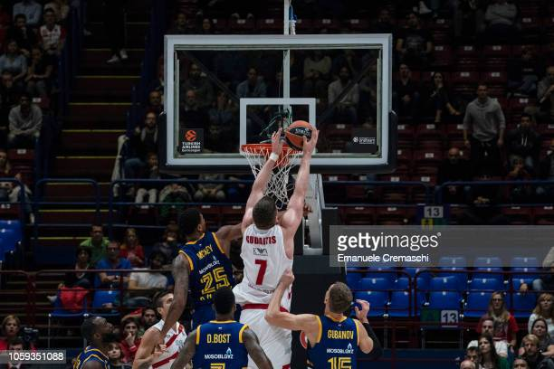 Arturas Gudaitis#7 of AX Armani Exchange Olimpia Milano taps the ball in during the Turkish Airlines EuroLeague Regular Season Round 4 match between...