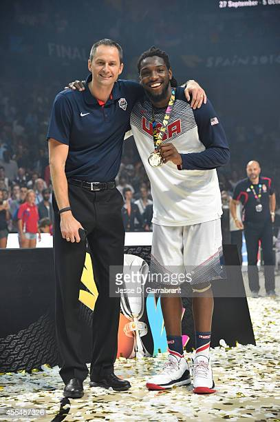 Arturas Karnisovas and Kenneth Faried of the USA Men's National Team poses for a photo after defeating the Serbia National Team in the 2014 FIBA...