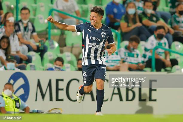Arturo Alfonso Gonzalez of Monterrey celebrates after scoring the first goal of his team during the 10th round match between Santos Laguna and...
