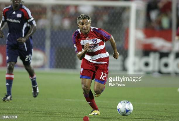 Arturo Alvarez of FC Dallas works the ball down field during the match against the New England Revolution on April 24 2008 at Pizza Hut Park in...