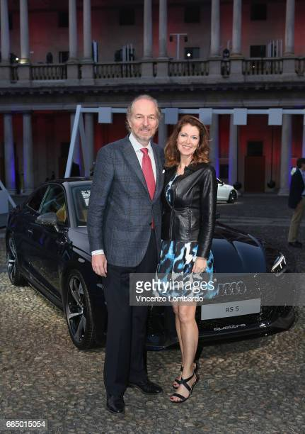 Arturo Artom and Alessandra Repini attend Audi City Lab on April 5 2017 in Milan Italy
