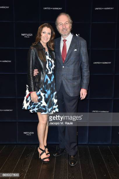 Arturo Artom and Alessandra Repini attend Natuzzi 'United For Armony' cocktail party during Milan Design Week on April 5 2017 in Milan Italy