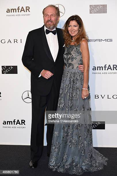 Arturo Artom and Alessandra Repini attend the amfAR Milano 2014 Gala as part of Milan Fashion Week Womenswear Spring/Summer 2015 on September 20 2014...