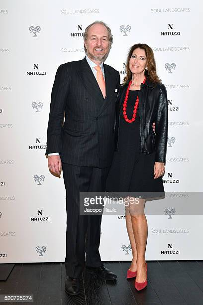 Arturo Artom and Alessandra Repini attends Natuzzi Soul Landscapes on April 12 2016 in Milan Italy