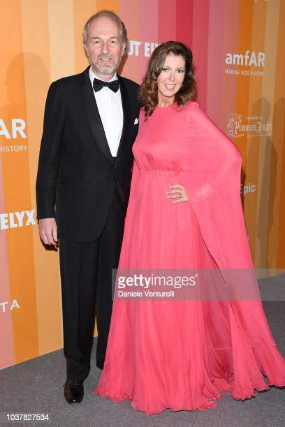 Arturo Artom and Alessandra Repini walk the red carpet ahead of amfAR Gala at La Permanente on September 22 2018 in Milan Italy