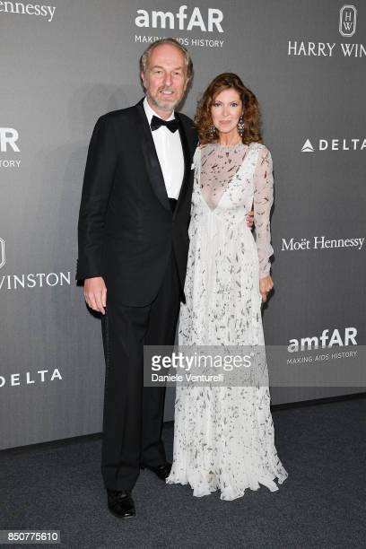 Arturo Artom and Alessandra Repini walk the red carpet of amfAR Gala Milano on September 21 2017 in Milan Italy