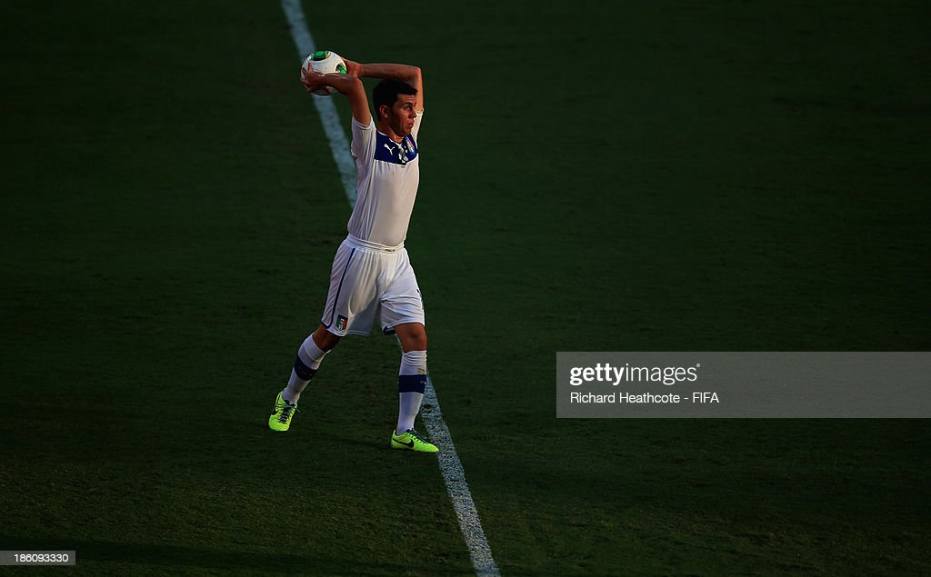 Arturo Calabresi of Italy takes a throw-in during the FIFA U-17 World Cup UAE 2013 Round of 16 match between Italy and Mexico at the Mohamed Bin Zayed Stadium on October 28, 2013 in Abu Dhabi, United Arab Emirates.