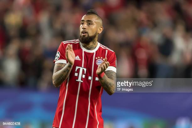 Arturo Erasmo Vidal of Bayern Muenchen gestures during the UEFA Champions League QuarterFinal first leg match between Sevilla FC and Bayern Muenchen...