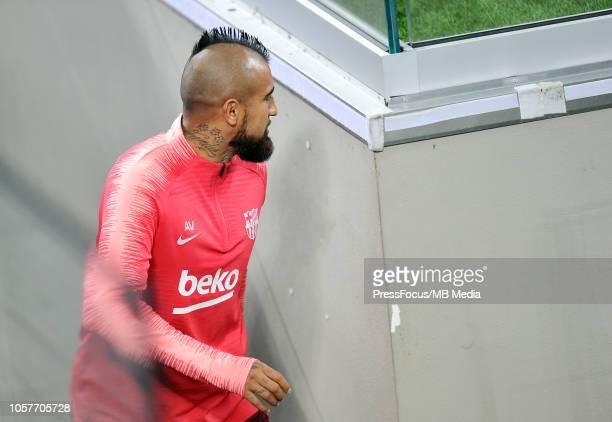 Arturo Erasmo Vidal Pardo of FC Barcelona during the FC Barcelona training session at San Siro Stadium on November 5 2018 in Milan Italy