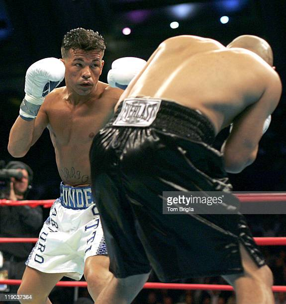 Arturo Gatti eyes up Jesse James Leija during the fight on January 29 2005 at Boardwalk Hall in Atlantic City