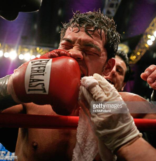 Arturo Gatti grimaces after his IBA Welterweight fight against Thomas Damgaard at Boardwalk Hall in Atlantic City NJ on January 28 2006 Gatti won the...