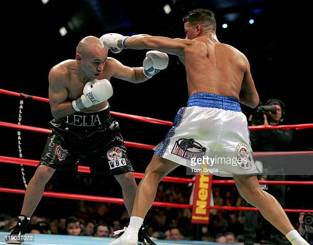 Arturo Gatti lands a left on Jesse James Leija during the fight on January 29 2005 at Boardwalk Hall in Atlantic City