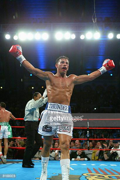 Arturo Gatti of the USA defeats Gianluca Branco of Italy during their WBC Super Lightweight Championship fight at the Boardwalk Hall on January 24,...