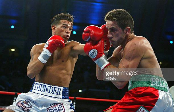 Arturo Gatti of the USA hits Gianluca Branco of Italy during their WBC Super Lightweight Championship fight at the Boardwalk Hall on January 24, 2004...
