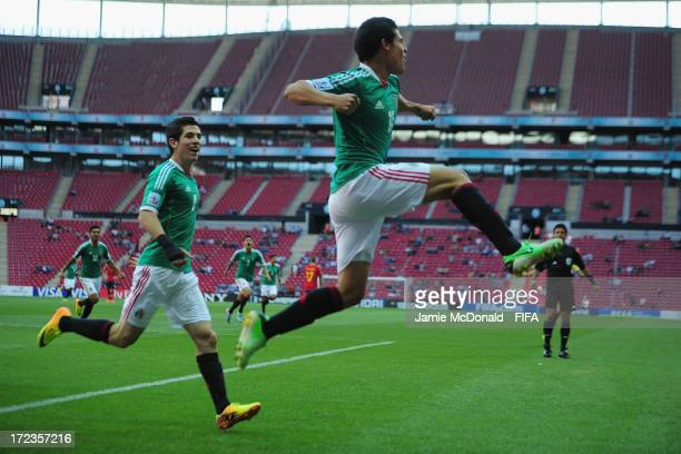 Arturo Gonzalez of Mexico celebrates his goal during the FIFA U-20 World Cup Round of 16 match between Spain and Mexico at the Ali Sami Yen Arena on...