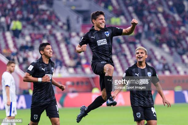 Arturo Gonzalez of Monterrey celebrates after scoring the first goal of his team during the FIFA Club World Cup 3rd place match between Monterrey and...