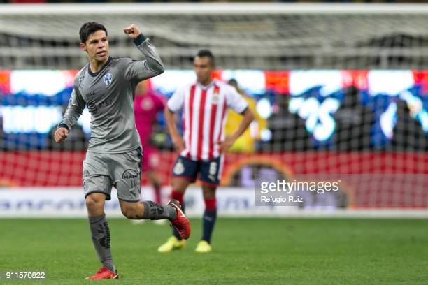 Arturo Gonzalez of Monterrey celebrates after scoring the first goal of his team during the 4th round match between Chivas and Monterrey as part of...