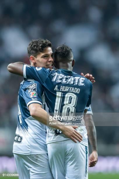 Arturo Gonzalez of Monterrey celebrates with teammate Aviles Hurtado after scoring his team's third goal during the 5th round match between Monterrey...