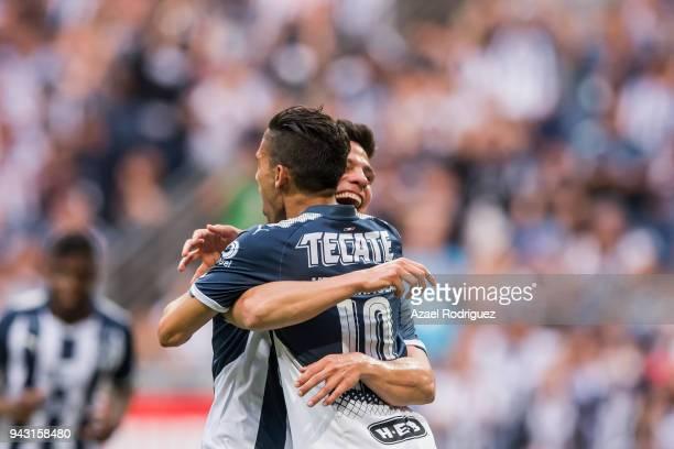 Arturo Gonzalez of Monterrey celebrates with teammate Jonathan Urretaviscaya after scoring his team's first goal via penalty during the 14th round...